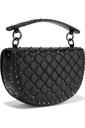 VALENTINO GARAVANI Rockstud Spike quilted cracked-leather shoulder bag