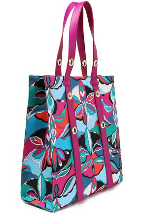 EMILIO PUCCI Leather-trimmed printed satin-twill tote