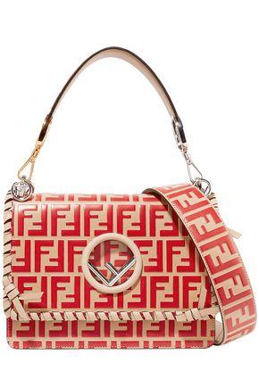 FENDI Kan I whipstitched embossed leather shoulder bag