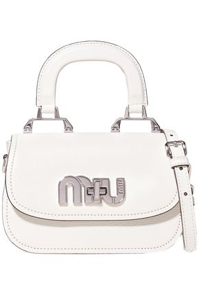 MIU MIU Logo-embellished textured-leather shoulder bag