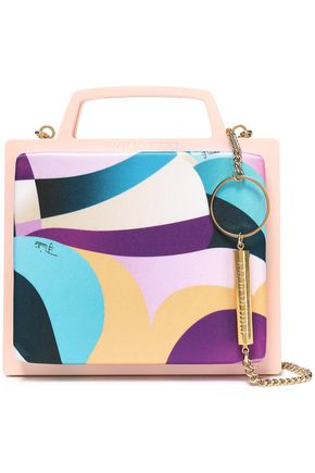 EMILIO PUCCI Chain-trimmed printed satin and PVC clutch