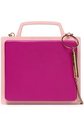 EMILIO PUCCI Chain-trimmed two-tone leather and PVC clutch