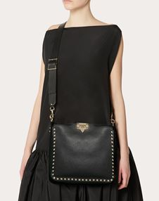 Small Rockstud Grainy Leather Hobo Bag