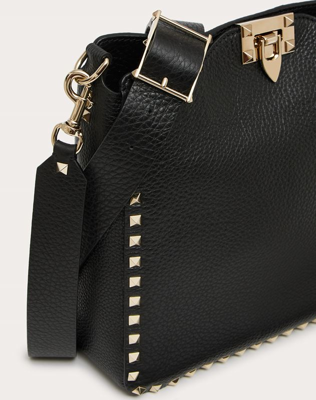 Small Rockstud Grainy Leather Hobo Bag
