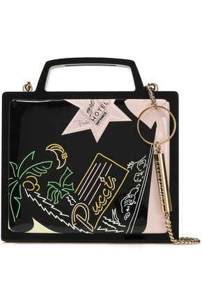 EMILIO PUCCI Embellished patent-leather and plastic clutch