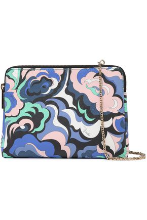 EMILIO PUCCI Paneled printed textured and pebbled-leather shoulder bag