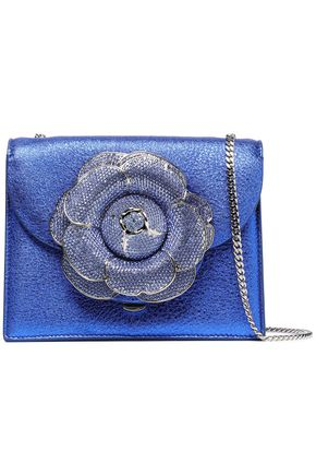 OSCAR DE LA RENTA Floral-appliquéd metallic cracked-leather shoulder bag