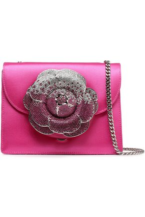 OSCAR DE LA RENTA Embellished satin and suede shoulder bag