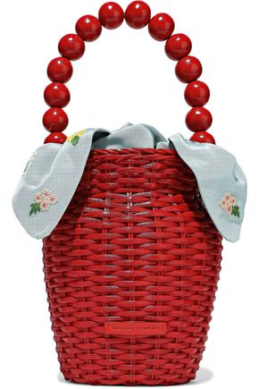 LOEFFLER RANDALL Louise bead-embellished rattan tote