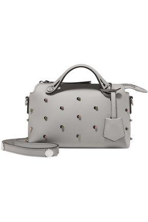 FENDI Crystal-embellished leather shoulder bag