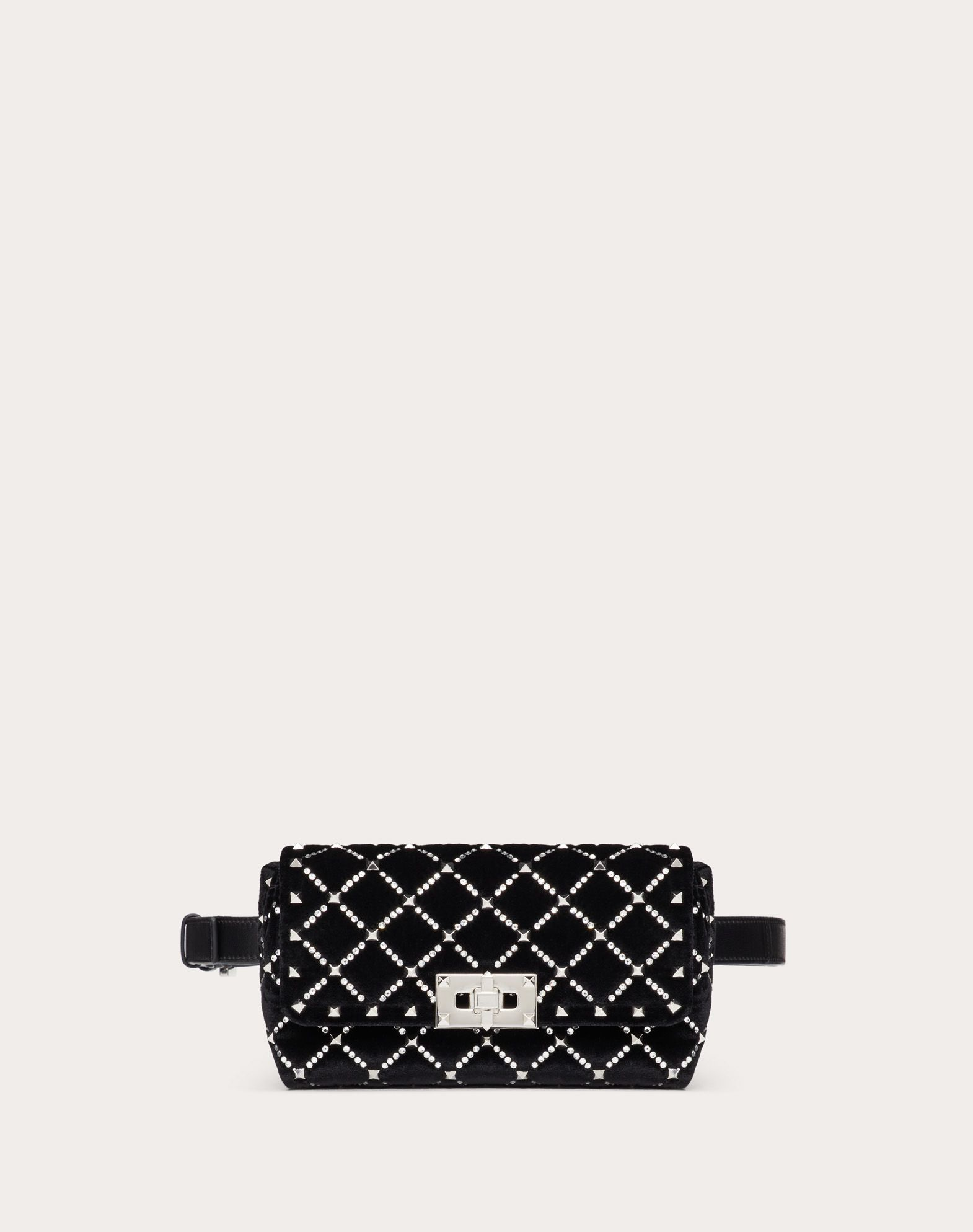 Spike.It Velvet Belt Bag with Rhinestone-Embellished Rhombus Quilting