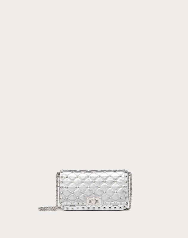 Маленькая сумка на цепочке Rockstud Spike из металлизированной кожи наппа