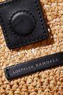 LOEFFLER RANDALL Hazel gingham canvas-trimmed woven raffia tote