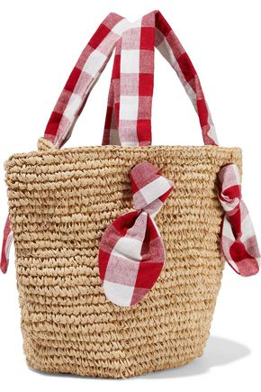 LOEFFLER RANDALL Hazel gingham canvas-trimmed woven straw tote