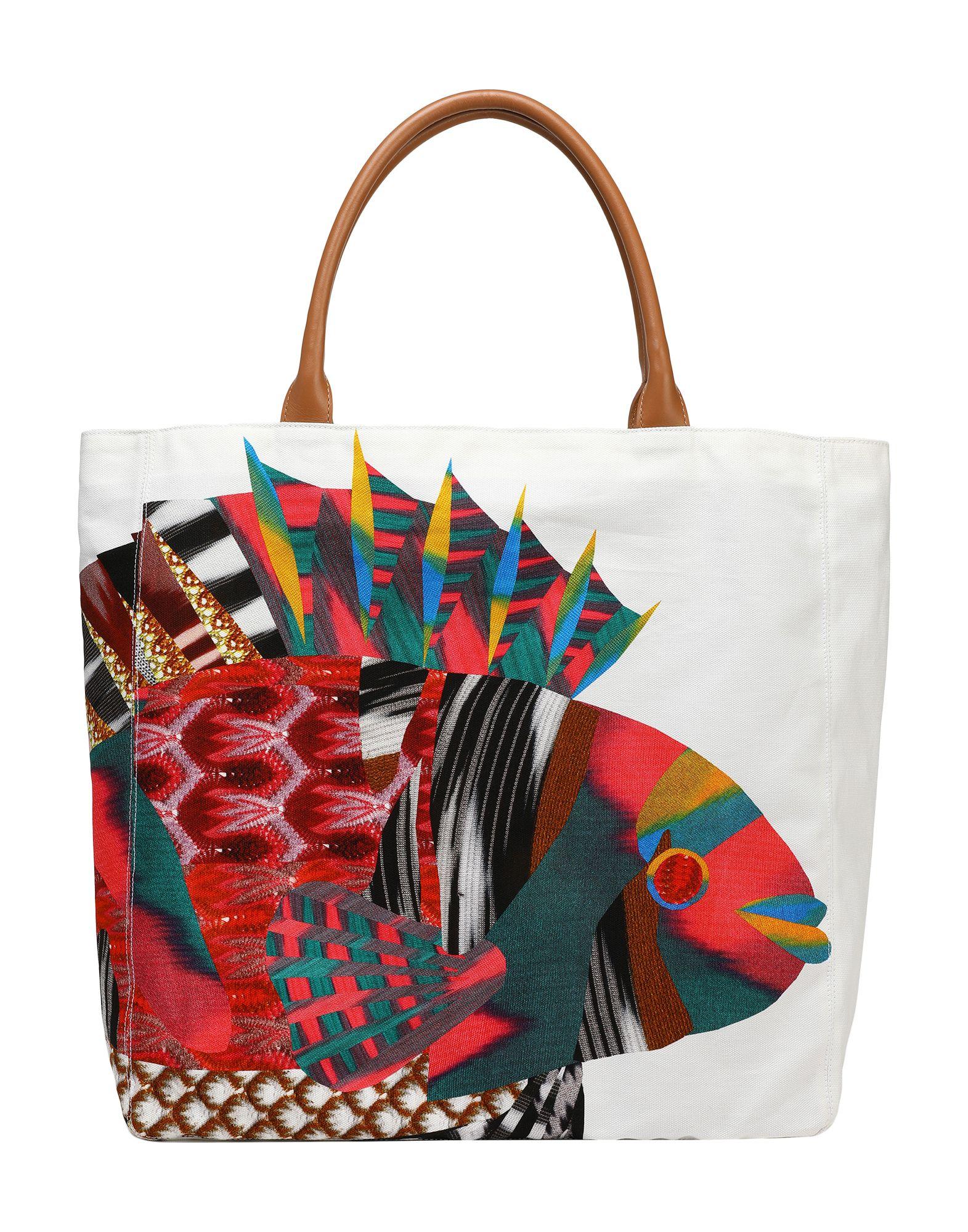 《送料無料》MISSONI MARE レディース ハンドバッグ ホワイト 紡績繊維 / 革