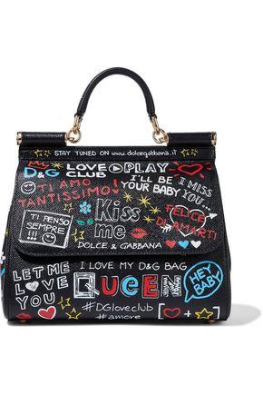 DOLCE & GABBANA Sicily printed textured-leather shoulder bag