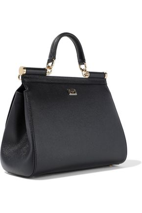 DOLCE & GABBANA Sicily appliquéd textured-leather shoulder bag