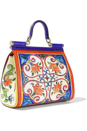 DOLCE & GABBANA Sicily medium printed textured-leather shoulder bag