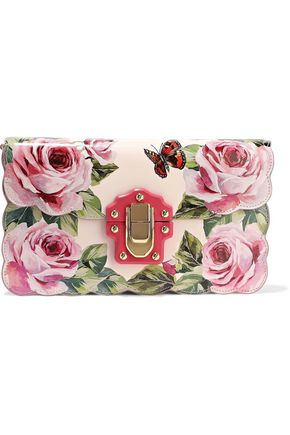 DOLCE & GABBANA Scalloped lizard-effect and printed leather clutch