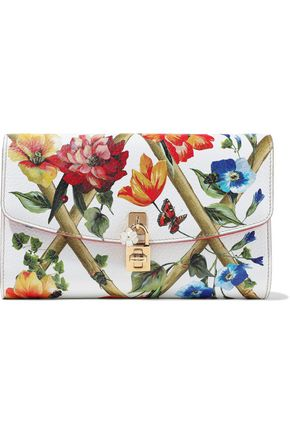 DOLCE & GABBANA Embellished printed textured-leather clutch