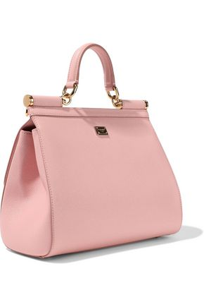 DOLCE & GABBANA Sicily appliquéd textured-leather shoulder bag