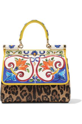 DOLCE & GABBANA Sicily small printed textured-leather shoulder bag