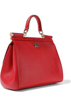 DOLCE & GABBANA Sicily medium embellished printed textured-leather shoulder bag
