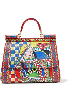 DOLCE & GABBANA Sicily medium printed textured-leather shoulder bag
