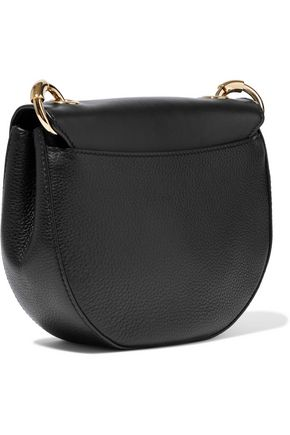 DOLCE & GABBANA Logo-embellished smooth and textured-leather shoulder bag
