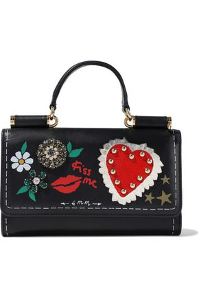 DOLCE & GABBANA Von mini embellished leather shoulder bag
