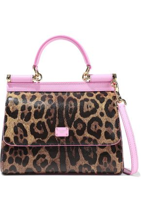 DOLCE & GABBANA Sicily medium leopard-print textured-leather shoulder bag
