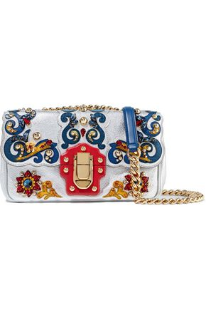 DOLCE & GABBANA Appliquéd textured-leather shoulder bag