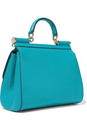 DOLCE & GABBANA Sicily appliquéd printed textured-leather shoulder bag