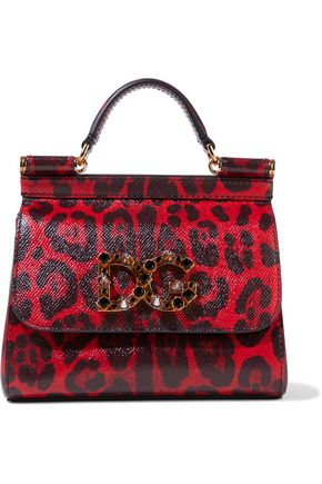 DOLCE & GABBANA Sicily embellished leopard-print textured-leather shoulder bag