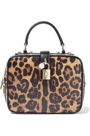 DOLCE & GABBANA Dolce leopard-print textured-leather shoulder bag