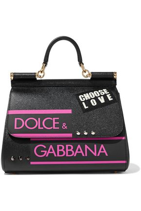 DOLCE & GABBANA Sicily embellished printed textured-leather shoulder bag
