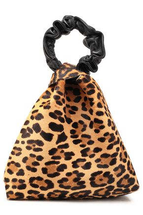 ELENA GHISELLINI Vanity leather-trimmed leopard-print calf hair clutch