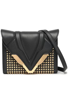 ELENA GHISELLINI Felina studded mirror-paneled leather box clutch