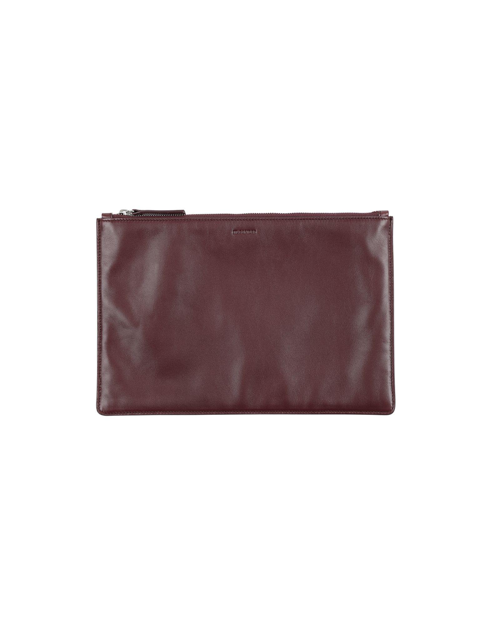 JIL SANDER Pouches. leather, logo, solid color, contains non-textile parts of animal origin. Calfskin