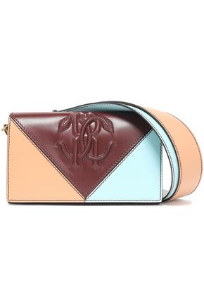 ROBERTO CAVALLI Color-block embossed leather shoulder bag