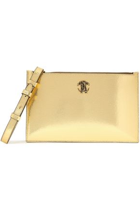 ROBERTO CAVALLI Embellished cracked-leather pouch