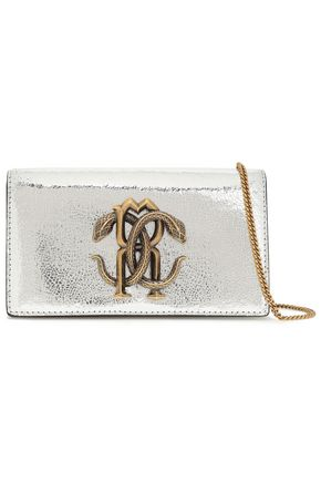 ROBERTO CAVALLI Logo-embellished metallic cracked-leather shoulder bag