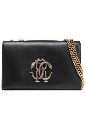ROBERTO CAVALLI Logo-embellished leather shoulder bag