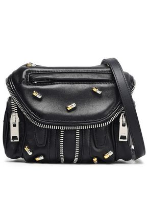 ALEXANDER WANG Zip-embellished textured-leather shoulder bag