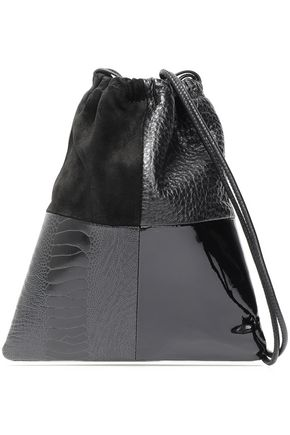 ALEXANDER WANG Patent-leather and suede-paneled shoulder bag