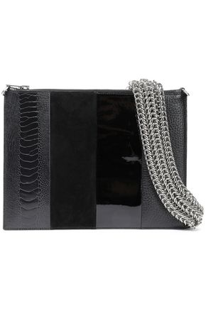 ALEXANDER WANG Paneled suede, snake-effect, patent and textured-leather pouch