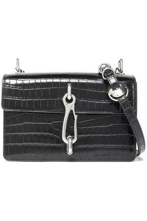 ALEXANDER WANG Chain-embellished croc-effect leather shoulder bag