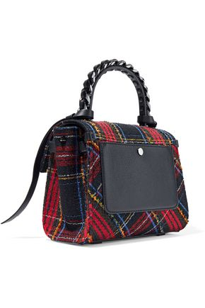 ELENA GHISELLINI Angel leather-trimmed checked bouclé-tweed shoulder bag