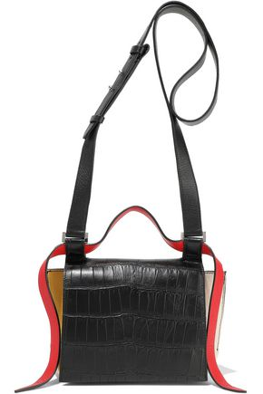 ELENA GHISELLINI Color-block croc-effect and textured-leather shoulder bag