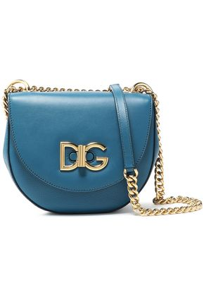 DOLCE & GABBANA Logo-embellished smooth and textured-leather shoulder bag